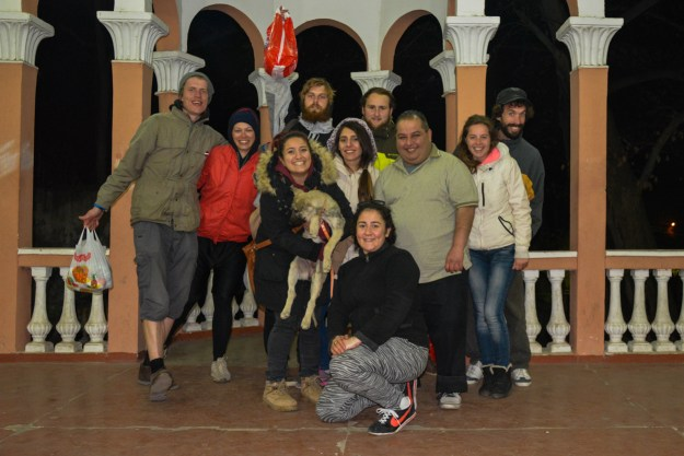 From left - Dainis; Laura; Victoria (holding the most energetic of puppies -Lady; Ivars; Noushig; Hans; Sako; Romina; Andres and Meghrig in front