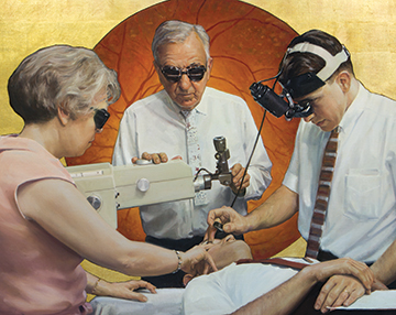 EYE TO INNOVATION: In a mural for the Joslin Diabetes Center, Warren Prosperi depicted HMS faculty William Beetham, a surgeon; Lloyd Aiello, an ophthalmology professor; and Priscilla Holman, a nurse, performing a laser surgery procedure developed by Beetham and Aiello. The revolutionary procedure prevented bleeding-induced blindness in patients with diabetes.