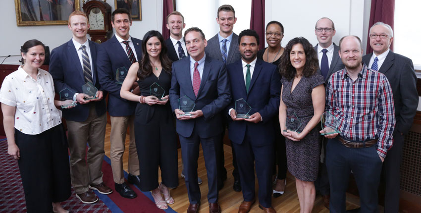 Recipients of the 2019 Dean's Community Service Awards. Image:  Jeff Thiebauth