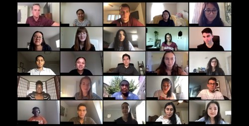 screen capture of students on video call