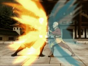 Aang and Zuko fighting