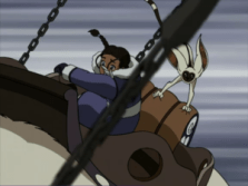 Katara and Momo in battle on Appa