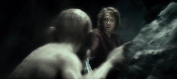 Bilbo resists the temptation to kill Gollum
