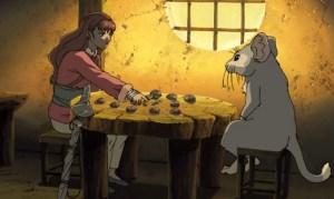 Rakushun the hanjyuu explains to Youko how his world works