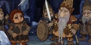 Cartoon Bilbo struggles with heavy armour