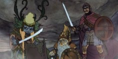 Thorin, Bard, and Thranduil fighting in The Hobbit cartoon
