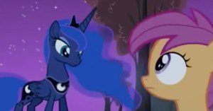 Princess Luna helps the young pegasus Scootaloo to confront her fears.