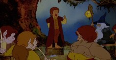 Bilbo gives his birthday speech in Ralph Bakshi's The Lord of the Rings