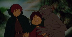 Frodo, Sam, and Gollum in Bakshi's cartoon.