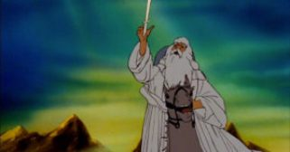 Animated Gandalf throws Glamdring into the air.