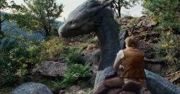Eragon mounts his dragon Saphira in the bad movie adaptation.