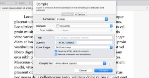 Scrivener's Compile feature allows you to easily format your finished manuscript.