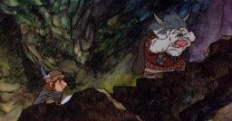 Cartoon Sam talks with an orc.