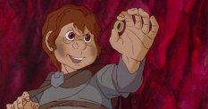Cartoon Frodo laughs like a cartoon villain.