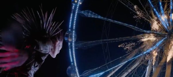 Ryuk the shinigami destroys a ferris wheel.