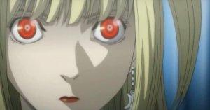 Misa Amane showing her shinigami eyes.