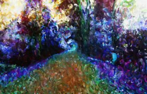 A surreal oil painting of a spiralling path with deep, bright colours.