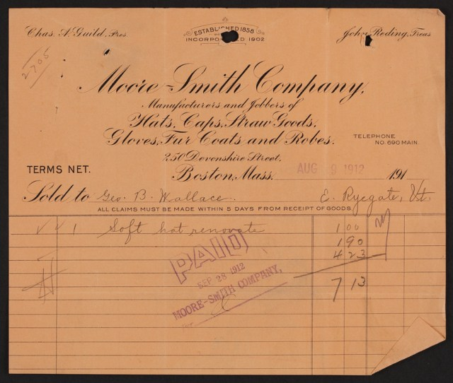 Billhead For Moore Smith Company Clothing 250 Devonshire Street Boston Mass Dated August 9 1912