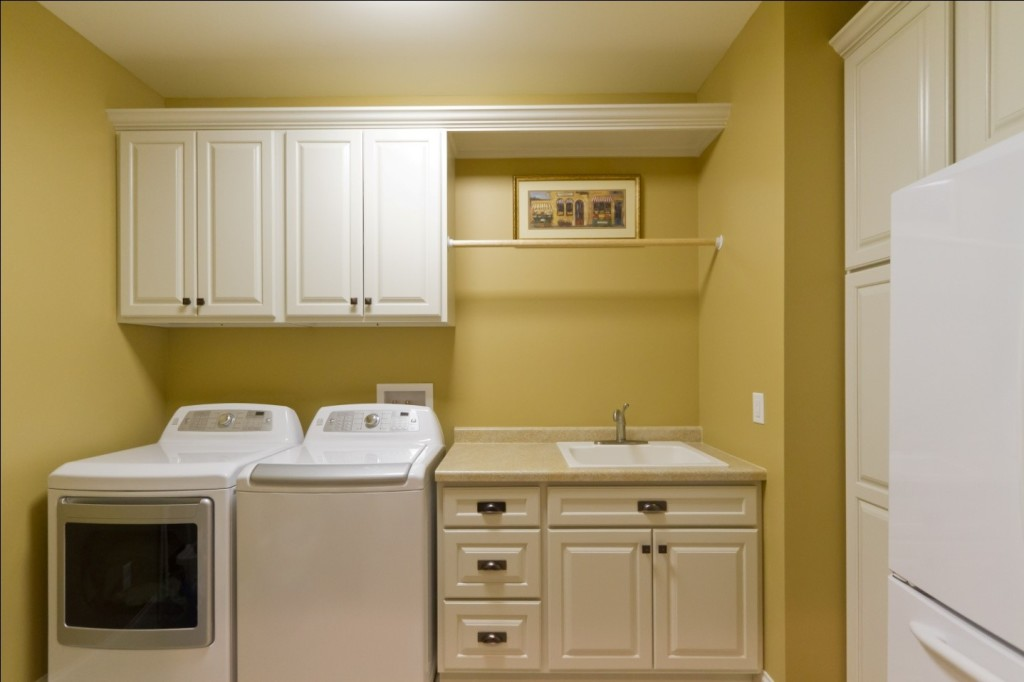 10 clever small laundry room storage and organization ... on Laundry Cabinets  id=84635