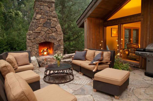12 Outdoor Fireplace Plans-Add Warmth and Ambience to ... on Simple Outdoor Brick Fireplace id=53726