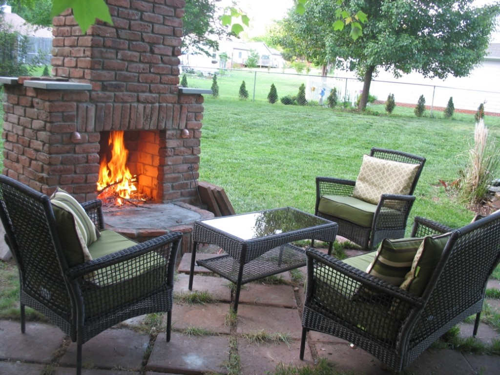12 Outdoor Fireplace Plans To Enjoy The Backyard At Night ... on Simple Outdoor Brick Fireplace id=45195