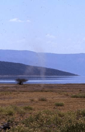 Dust devil photographed at Lake Bogoria, Kenya, 2001 (Photo by W.D. McIlveen)