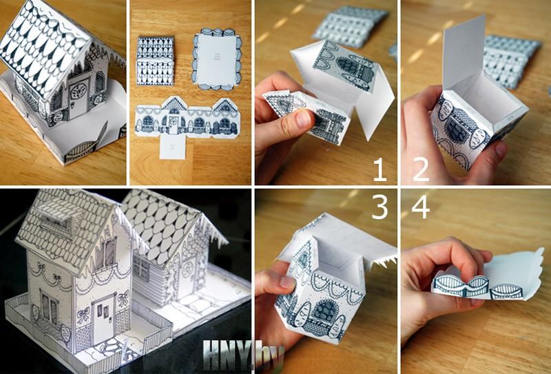 Поделка домик Деда Мороза из бумаги своими руками + Шаблон