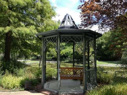 睡蓮の池とかわいいベンチ
