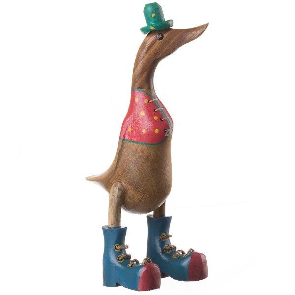 Wooden Standing Duck Bird Figure Hat Top Sculpture Modern ...