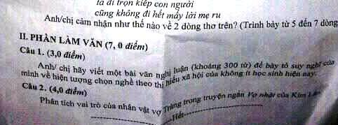 Đề thi Văn học kỳ 2 lớp 12 ở Quảng Ngãi đề cập đến tình trạng học sinh chọn nghề theo thị hiếu