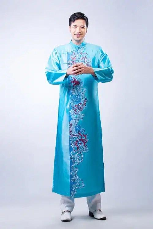 Áo dài nam xanh ngọc vẽ rồng phượng