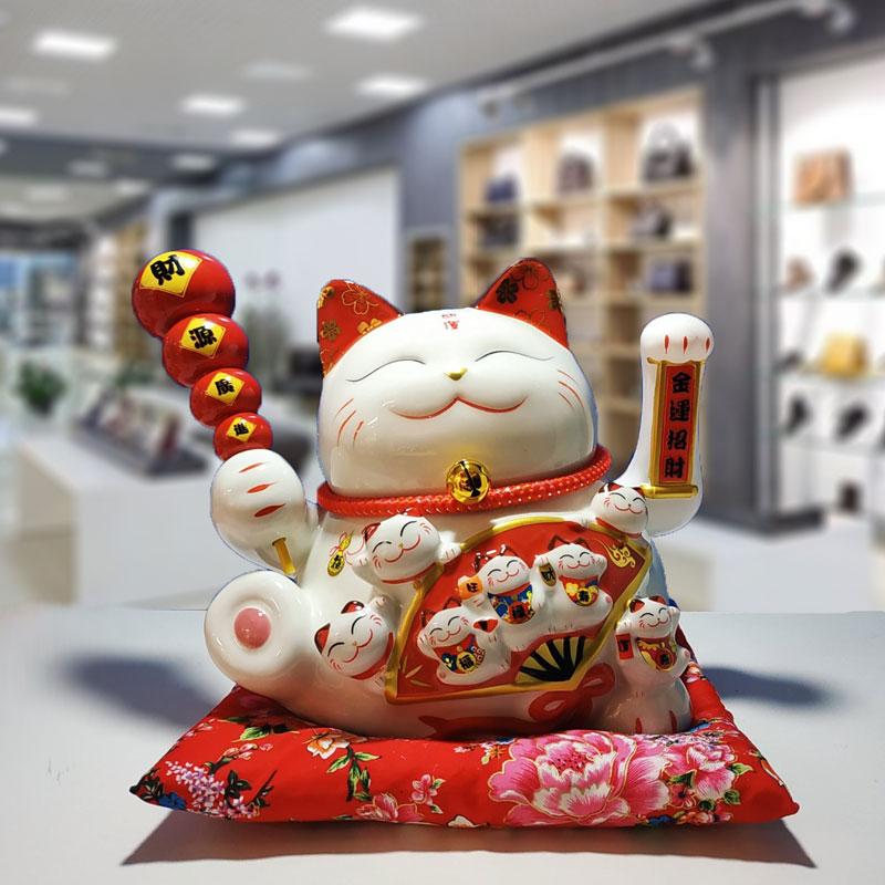 Mèo vẫy tay phong thủy mèo, thần tài trang trí