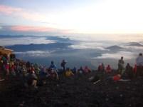 The crowd admiring the sunrise