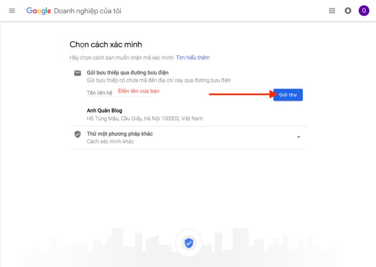 Xác nhận & gửi thông tin cho Google