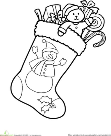 Christmas Stocking Coloring Pages Part 2