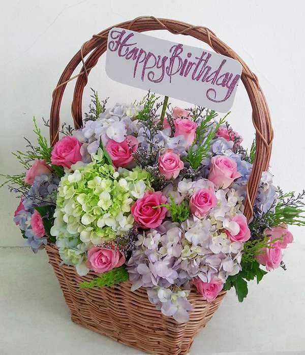 hoa và bánh sinh nhật đẹp