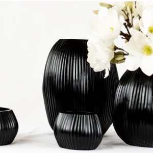 Schwarz Windlicht Blumen Deko Kerze