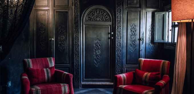 vintage interior of cozy room in hotel