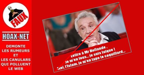 NON, Michel SARDOU n'a pas écrit cette lettre à F.HOLLANDE !