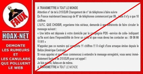 FAUX – Que ce soit en France ou en Belgique, ce numéro de téléphone a été supprimé depuis 2005 !