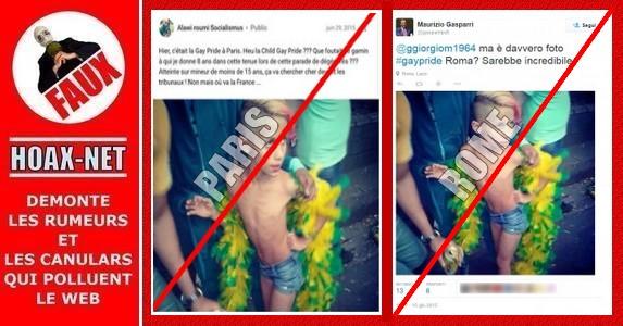 NON, cet enfant n'était pas à la Gay Pride de Paris, ni celle de Rome d'ailleurs !