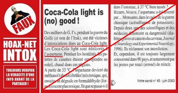 NON, l'aspartame contenu dans le Coca-Cola Light ou autre n'est pas dangereux !