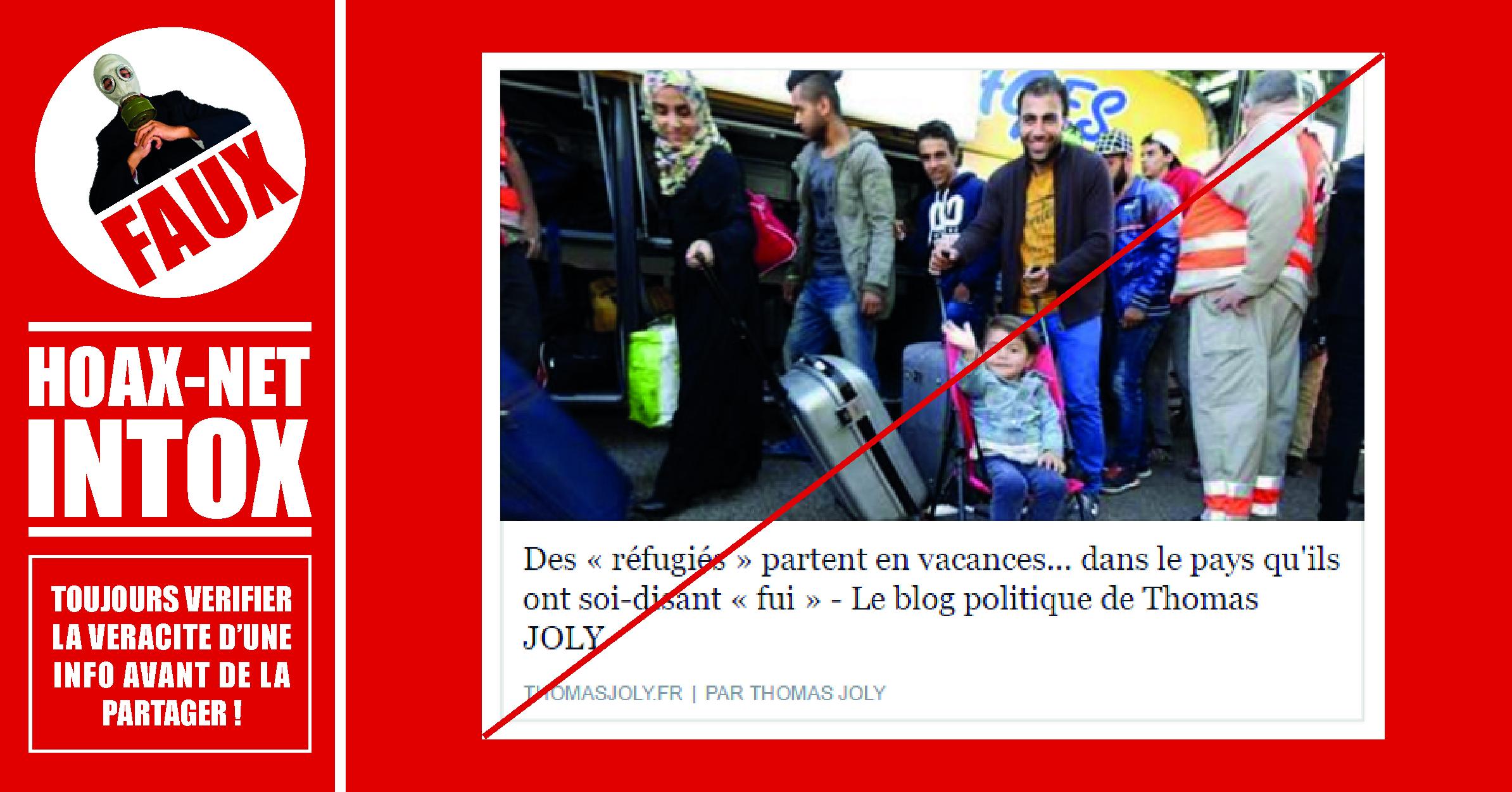 Non, les réfugiés ne partent pas en vacances dans leur pays.