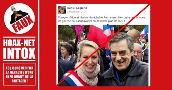 Non, François Fillon et Marion Maréchal-Le Pen n'ont jamais été ensemble sur ce cliché !