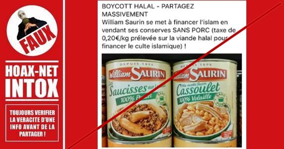 Non, William Saurin ne finance pas l'islam avec une taxe halal