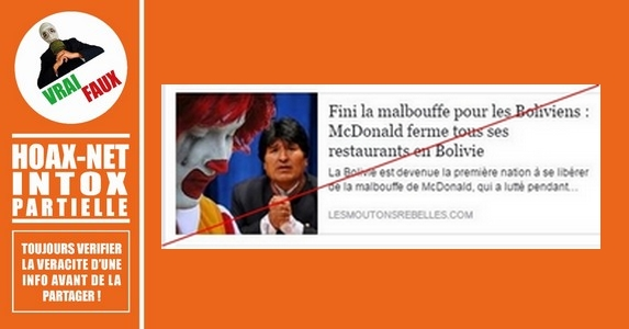 MAC DONALD a bien fermé ses franchises en BOLIVIE mais…..