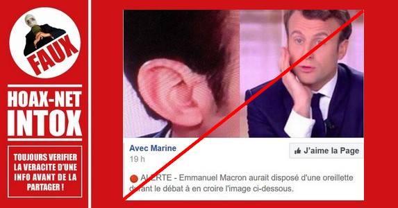 Non, Macron ne disposait pas d'une oreillette lors du débat d'entre-deux-tours