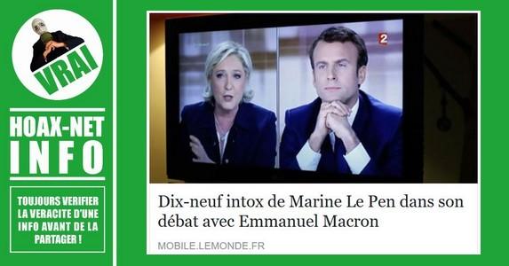 Dix-neuf intox de Marine Le Pen dans son débat avec Emmanuel Macron.