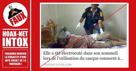 NON, cette jeune femme n'est pas décédée électrocutée dans son sommeil lors du chargement de son téléphone.