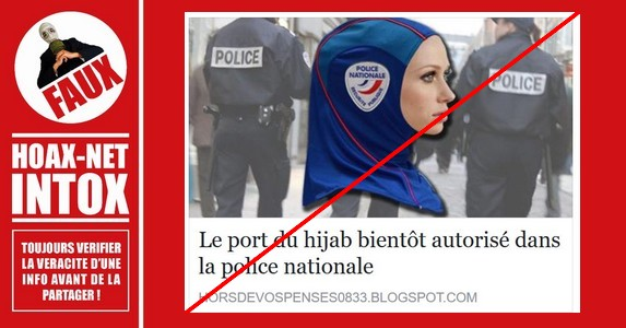 Non, le port du hijab ne sera pas bientôt autorisé dans la police nationale.